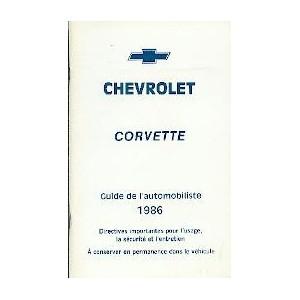 notice d entretien Corvette 1986