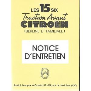 Notice d'entretien 1954 pour 15/6 Cyl.
