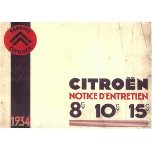 Notice d' entretien 1934