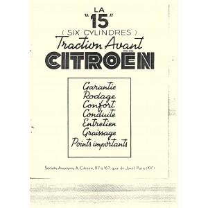 Notice d'entretien 1951 pour 15/6 Cyl.